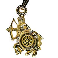Damascene Gold Sagittarius the Archer Zodiac Pendant on Chain Necklace by Midas of Toledo Spain style 5414